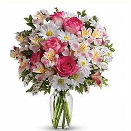 Mix de flores em vaso de acrilico - MOD.033