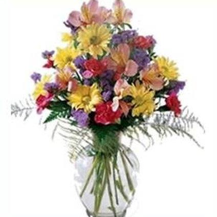 Mix de flores em vaso de acrilico - MOD.011