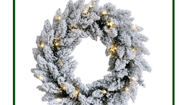 WC2085F-20BL Christmas Wreath with Snow and Lights