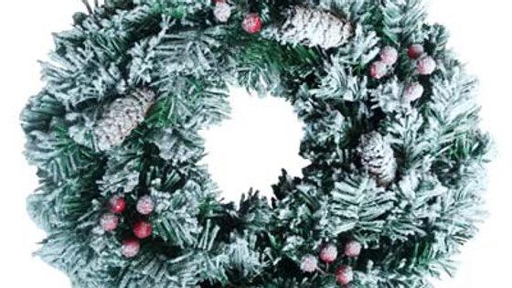 WYP1580FRC Christmas wreath w/Snow, Red berry &Pine Cone