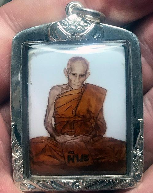 An Enamel Locket of Luang Phor Pina by Wat Sanomlao from 2005