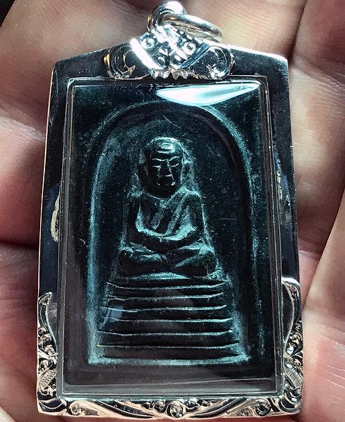 The Jade Somdet Phra Khau Amulet by Phra Ajarn O - in silver