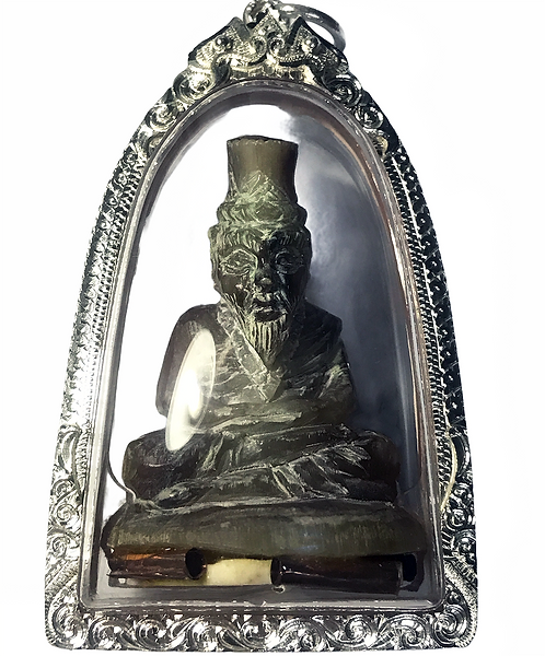 A Phenomenal Carved Horn Lersi Amulet by Ajarn Perm Rung in silver