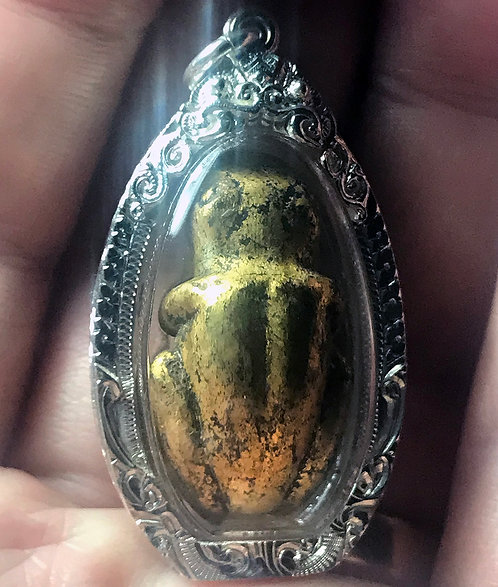 A Rare Old Tai Yai Frog Amulet in silver - with Mercury