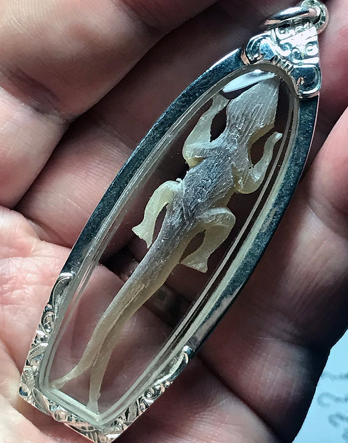 A Rare Jingjok Prai Amulet in silver by Luang Phor Rit  2547 LAST ONE