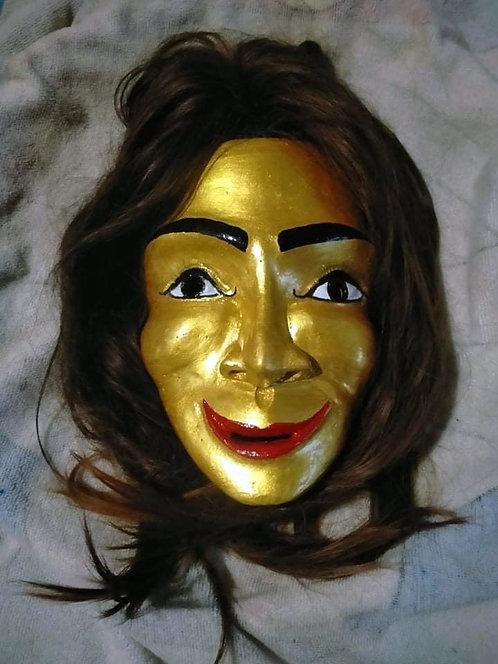 A Fantastic Mae Takien Thong Wood Mask with Hair by Ajarn Plian