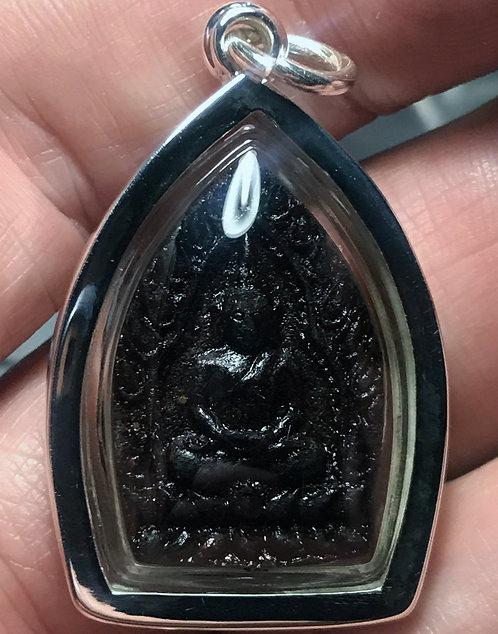 A Burmese Yaa Chintamuni Buddhist Amulet by Kruba Apiwat in silver