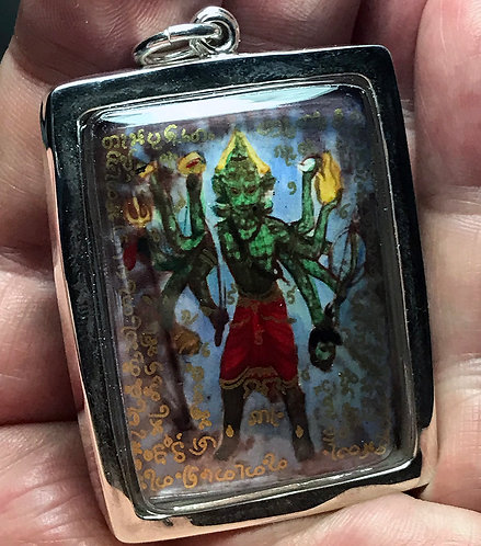 The Remarkable Hoon Payon Ong Kru Amulet by Phra Ajarn O in silver