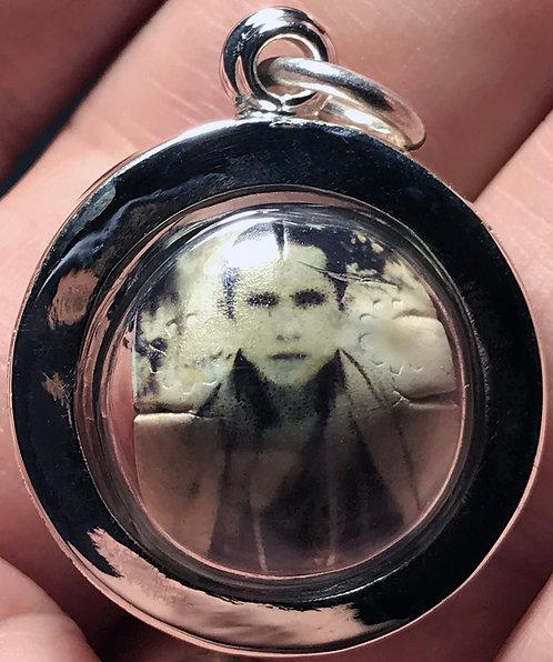 Original Luang Phor Pina Prai Luk Om Amulets in silver - with his hair