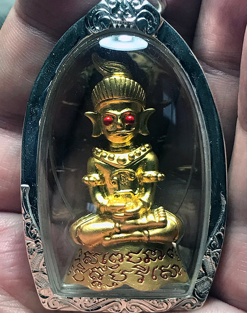 Fantastic Old Issue Red Eyed Phra Ngang Amulets in silver by Kruba Thamunee