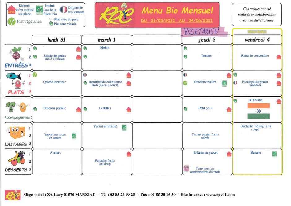 menus du 31 mai au 4 juin