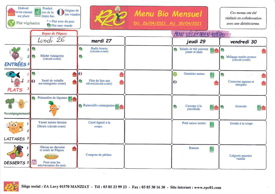 menus du 26 au 30 avril
