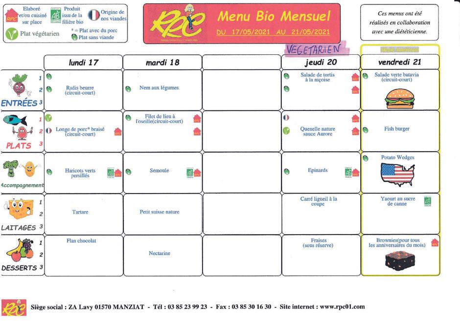 menus du 17 au 21 mai