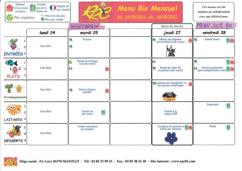 menus du 24 au 28 mai
