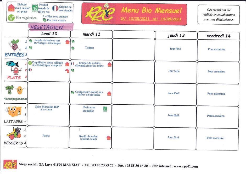 menus du 10 au 14 mai