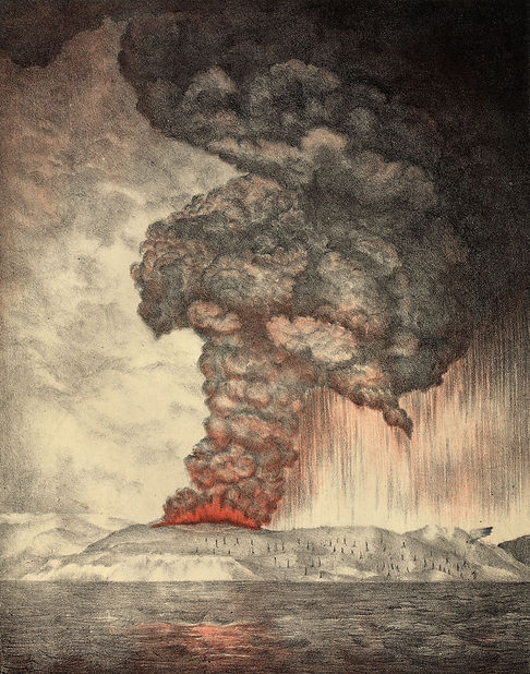 Le Souffriere erupts, Martinique, 1902, from The Widow Nash