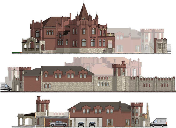 Комплекс зданий включает: жилой дом, гостевой дом с парковкой, хозяйственный блок с гаражом на 4 авто, открытую террасу для отдыха, барбекю с переходной галереей, въездную группу с домом охраны.