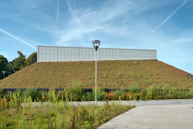 The steep green roofs at our passive school complex 'Les Trèfles'