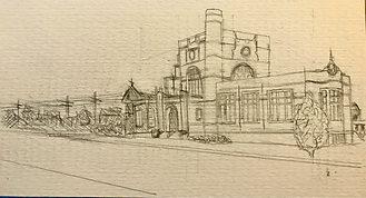 Nashua Hunt Library sketched in pencil beginning process 4x6.HEIC