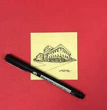Architectural Illustration on Post It Note Paper.JPG