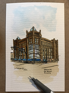 4x6 Odd Fellow Bldg., Nashua, NH watercolor and instant coffee  2021.HEIC
