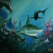 undersea shark scene acrylics 18x24