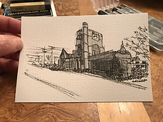 Quick sketch of Hunt Library, Nashua, NH pen with graff.HEIC