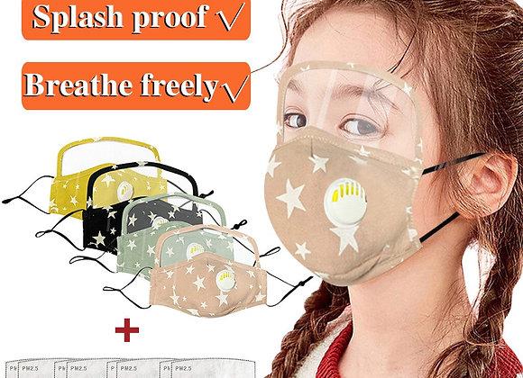 Máscara facial para niños con protector de ojos y  válvula de respiración