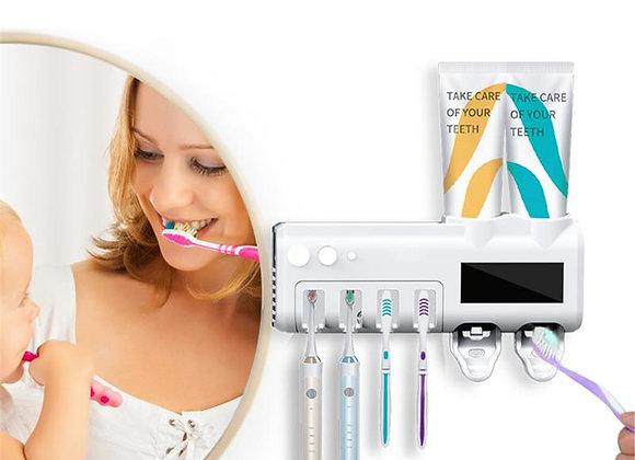 3 en 1. Dispensador de crema dental, estante para 4 cepillos y antigermicida UV