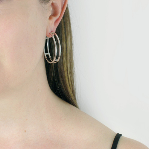 4a5b4af02 Hoop earrings have always been a wardrobe staple, and these large stunning  double line hoops from my 'Parallel Collection' offer a modern twist on the  ...