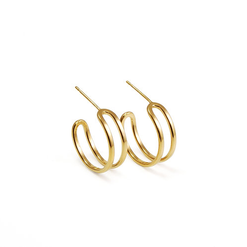 Gold Parallel Curve Hoop Earrings