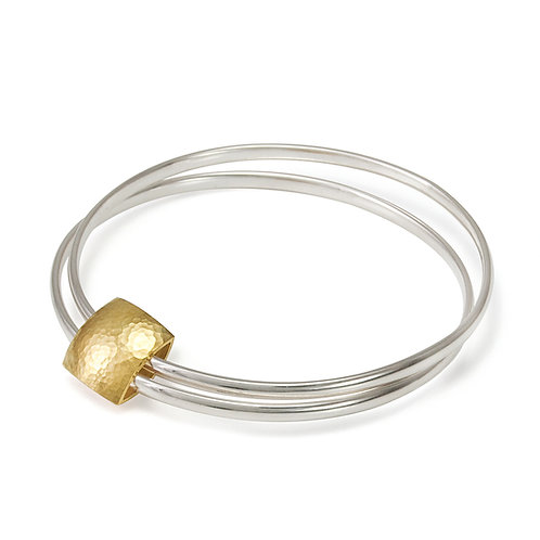 Gold and Silver Pillow Bangle