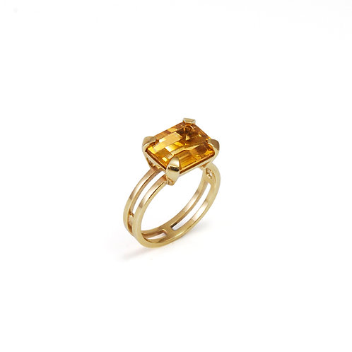 9ct Gold Parallel Ring with Citrine