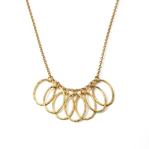 Gold Cascade Leaf Link Necklace