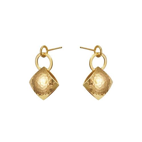 Gold Pillow Drop Earrings