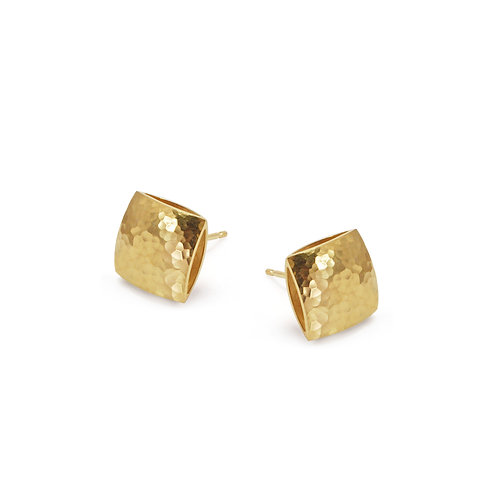 Gold Textured Pillow Stud Earrings