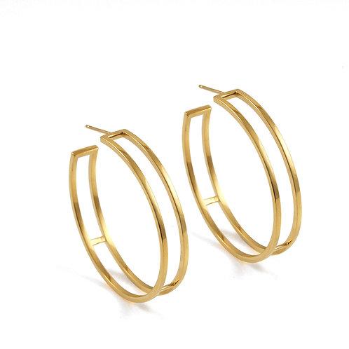 Large Gold Parallel Hoop Earrings