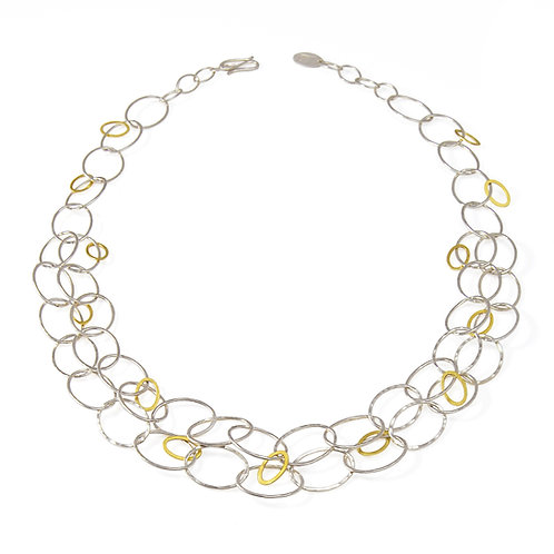 Mixed Silver and Gold Cascade Necklace