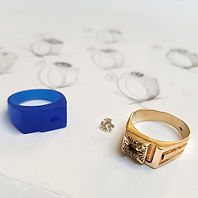 carved wax and original ring and diamond