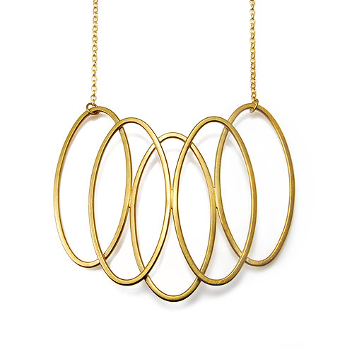 Large Gold 5 Oval Cadence Necklace