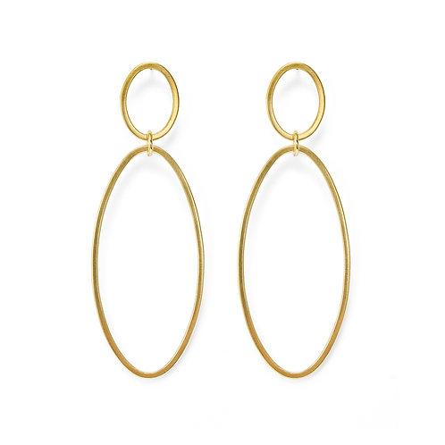 Ellipse Gold Oval Drop Earrings