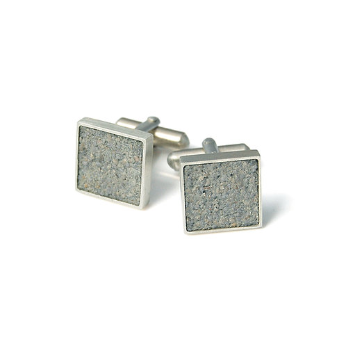 Silver and grey concrete cuff links