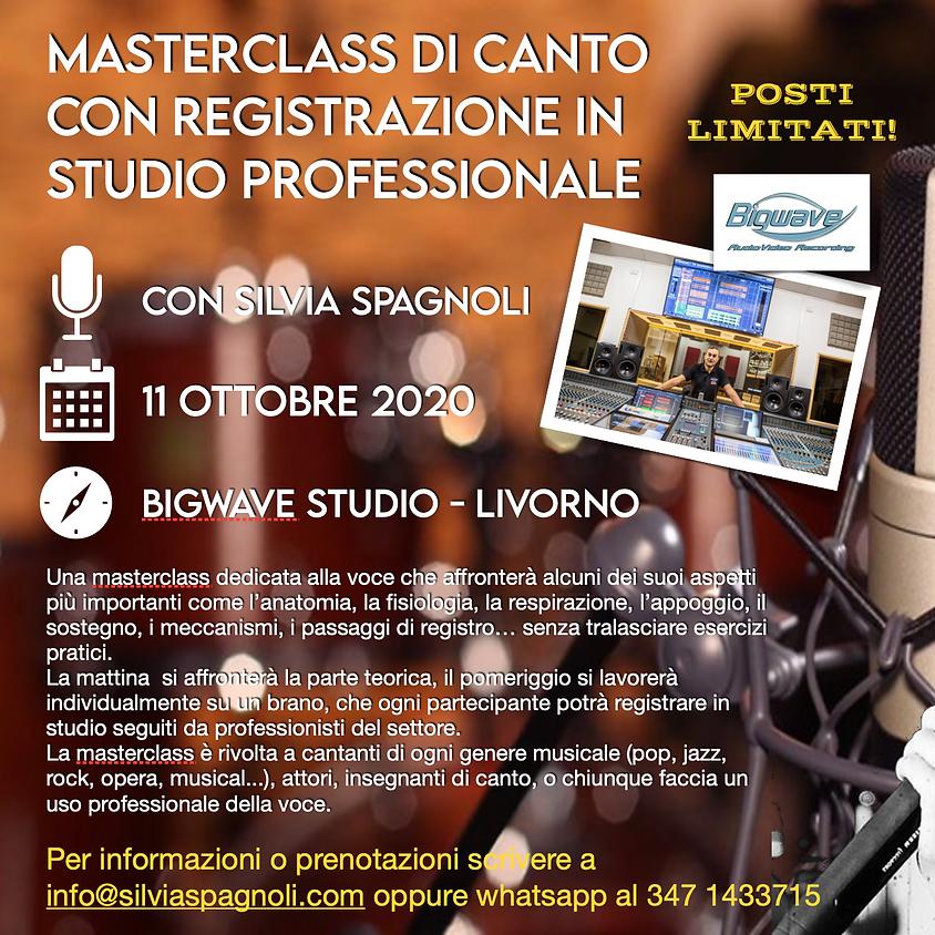 MASTERCLASS DI CANTO  E  REGISTRAZIONE DI UN BRANO IN STUDIO PROFESSIONALE