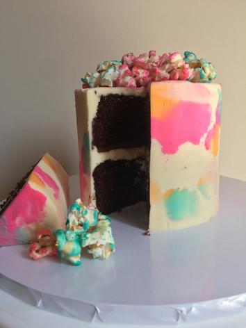 Watercolour Popcorn Cake