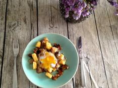 Pancetta, Chilli Polenta, Mushroom, Sage & Duck Egg Hash