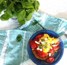 Harissa Tomatoes, Eggs & Goat's Cheese