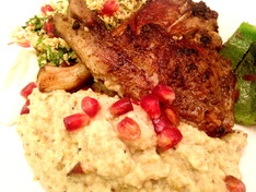 Lamb Chops, Cauliflower 'Pilaff' and Smoked Aubergine