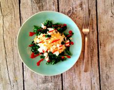 Kale, Feta & Sriracha Scramble