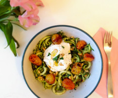 Wild Garlic Pesto and Burrata Courgetti