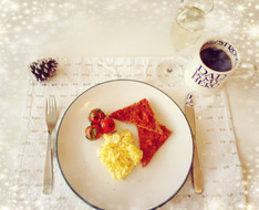 Buttery Scrambled Eggs, Herby Tomatoes and 'Nduja Toast